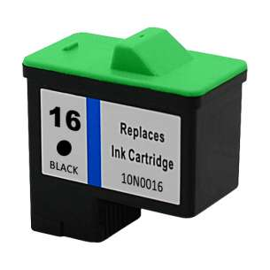 Remanufactured Lexmark 10N0016 (#16 ink) inkjet cartridge - black cartridge