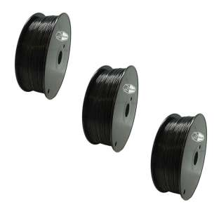 3 PACK bison3D Filament for 3D Printing, 1.75mm, 1kg/roll, Black (ABS)