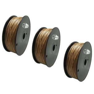 3 PACK bison3D Filament for 3D Printing, 1.75mm, 1kg/roll, Gold (ABS)