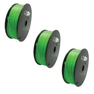 3 PACK bison3D Filament for 3D Printing, 1.75mm, 1kg/Roll, Green (ABS)