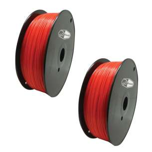 2 PACK bison3D Filament for 3D Printing, 1.75mm, 1kg/roll, Red (ABS)