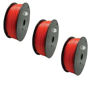 3 PACK bison3D Filament for 3D Printing, 1.75mm, 1kg/roll, Red (ABS)