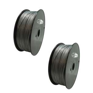 2 PACK bison3D Filament for 3D Printing, 1.75mm, 1kg/roll, Silver (ABS)