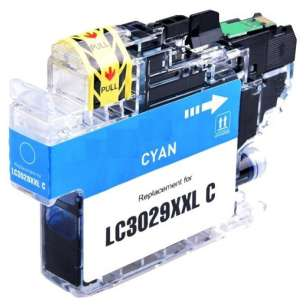 Compatible inkjet cartridge for Brother LC3029C - super high yield cyan