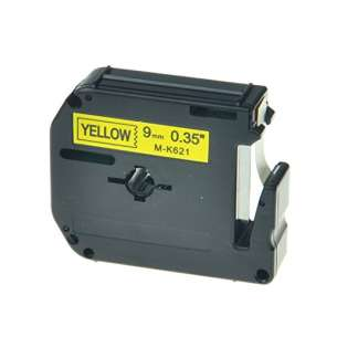 Compatible label tape for Brother M-K621 - black on yellow