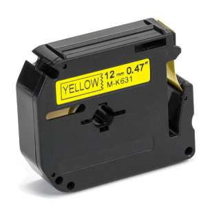 Compatible label tape for Brother M-K631 - black on yellow