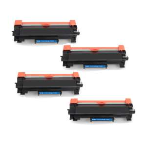 Compatible Brother TN760 toner cartridges - WITHOUT CHIP - high capacity black - 4-pack