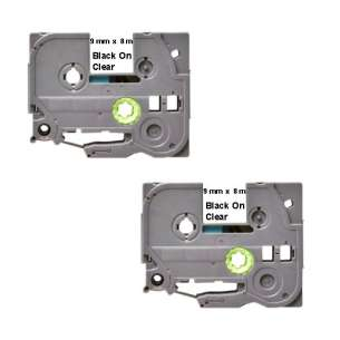 Compatible Atlantic Inkjet Canada label tape for Brother TZe-121 - black on clear - 2-pack