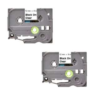 Compatible Atlantic Inkjet Canada label tape for Brother TZe-131 - black on clear - 2-pack