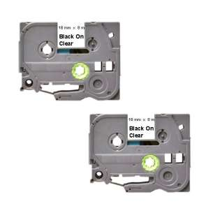Compatible Atlantic Inkjet Canada label tape for Brother TZe-141 - black on clear - 2-pack