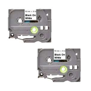 Compatible Atlantic Inkjet Canada label tape for Brother TZe-241 - black on white - 2-pack