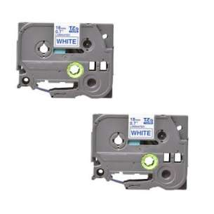Compatible Atlantic Inkjet Canada label tape for Brother TZe-243 - blue on white - 2-pack
