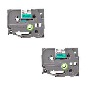 Compatible Atlantic Inkjet Canada label tape for Brother TZe-741 - black on green - 2-pack