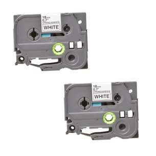 Compatible Atlantic Inkjet Canada label tape for Brother TZe-S241 - black on white - 2-pack