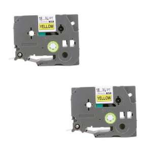 Compatible Atlantic Inkjet Canada label tape for Brother TZe-S641 - black on yellow - 2-pack
