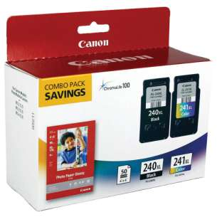Genuine Brand Canon 5206B005 (PG-240XL, CL-241XL, 50 Photo Paper Sheets) Multipack