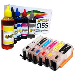Continuous Ink Cartridge (CIC) Set for Canon PGI-270 / CLI-271 (6 Pack) - with Auto reset Chips and With Ink - 40 to 50 Refills Included