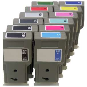 Compatible inkjet cartridges Multipack for Canon PFI-206 - 12 pack