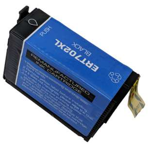 Remanufactured Epson T702XL120 (702XL) inkjet cartridge - high capacity black