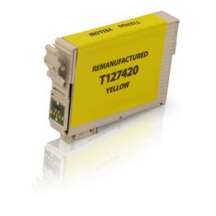 Remanufactured Epson T127420 (127 ink) inkjet cartridge - extra high capacity pigmented yellow