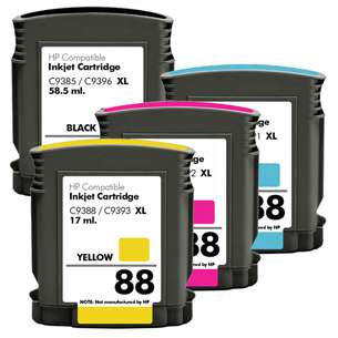 Remanufactured inkjet cartridges Multipack for HP 88XL - 4 pack