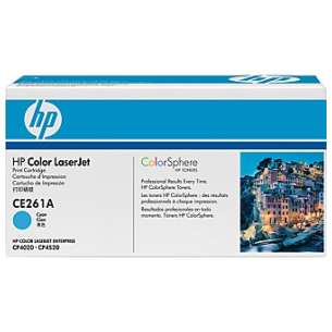 Original Hewlett Packard (HP) CE261A (648A) toner cartridge - cyan