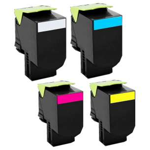Remanufactured Lexmark C540H1KG, C540H1CG, C540H1MG, C540H1YG toner cartridges - 4-pack