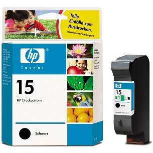 Original Hewlett Packard (HP) C6615 (HP 15 ink) inkjet cartridge - black cartridge