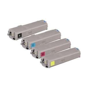 Compatible Okidata 46490604 / 46490603 / 46490602 / 46490601 toner cartridges - 4-pack