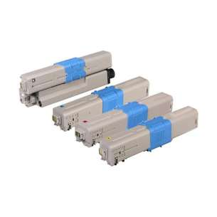 Compatible Okidata 46508704 / 46508703 / 46508702 / 46508701 toner cartridges - 4-pack
